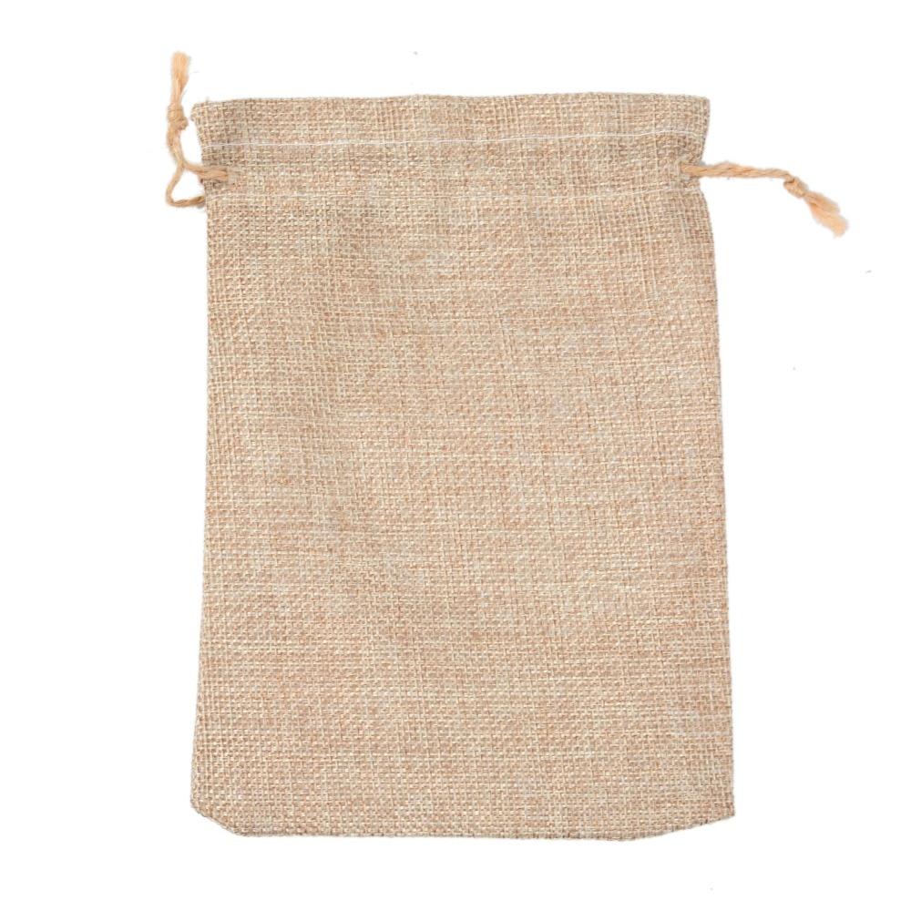 Купить с кэшбэком Natural Burlap Bags 13*18cm Candy Gift Bags Wedding Party Favor Pouch JUTE Hessian DRAWSTRING SACK SMALL WEDDING FAVOR GIFT