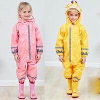 Cute Animal Baby Jumpsuits Rain Coat Waterproof Polyester Raincoat Children Girls Boys Windproof Poncho for Kindergarten Student
