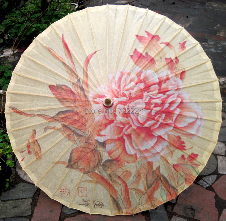 Free shipping dia 84cm chinese craft pink Blooming Peony oiled paper umbrella waterproof parasol decoration gift umbrella dia 84cm chinese classical ancient dance umbrella craft green bamboo with panda oiled paper parasol decoration dance umbrella