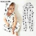 Bebê Recém-nascido Meninas Meninos Arrow WANGSAURA Impresso camisa Sem Mangas Com Capuz Romper Com Zíper Casacos Outfits Roupas