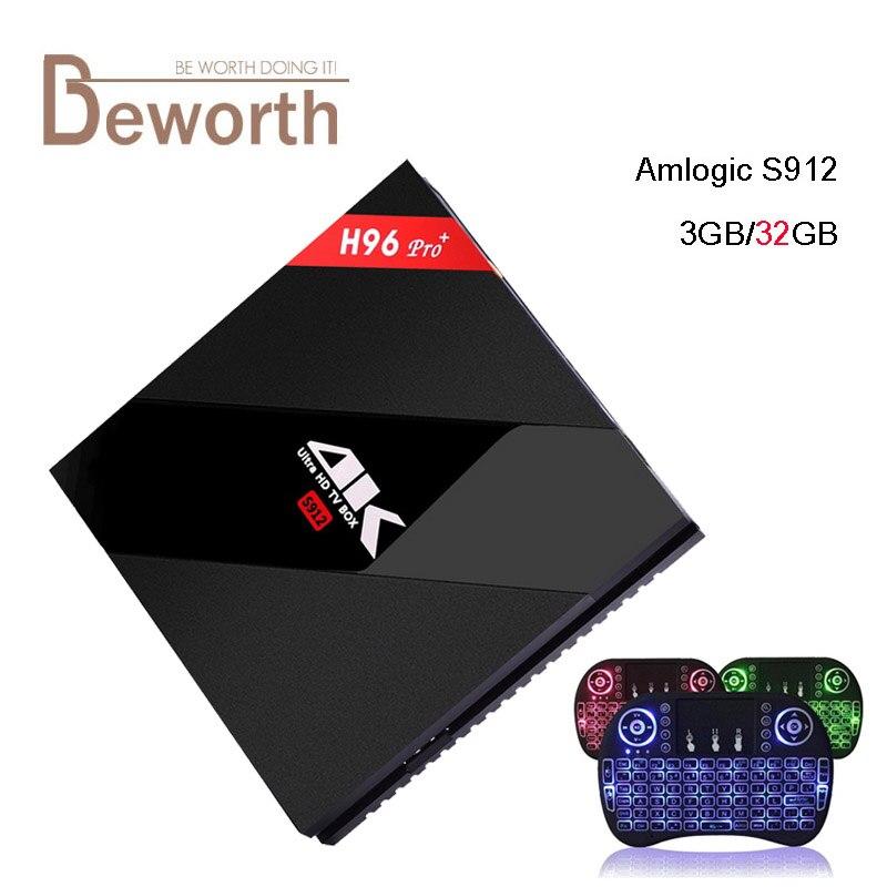 Prix pour 3 GB RAM 32 GB H96 Pro + Plus Amlogic S912 Octa Core 64Bit Android 6.0 TV BOX 4 K 1000 M 2.4/5.8G WiFi BT4.0 IPTV Smart Media Player
