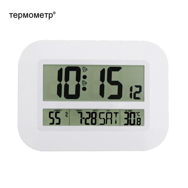 Декоративные цифровые настенные настольные часы Настольный Календарь Температура термометр влажности гигрометр часы с радиоуправлением