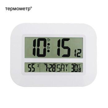 装飾デジタル壁掛け目覚まし時計テーブルデスクトップカレンダー温度温度計湿度湿度計ラジオ制御時計デジタル時計