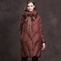2018 winter Outerwear collection High Quality Long Down Jacket More Women Standing collar parka Straight Down Coat warm XY352