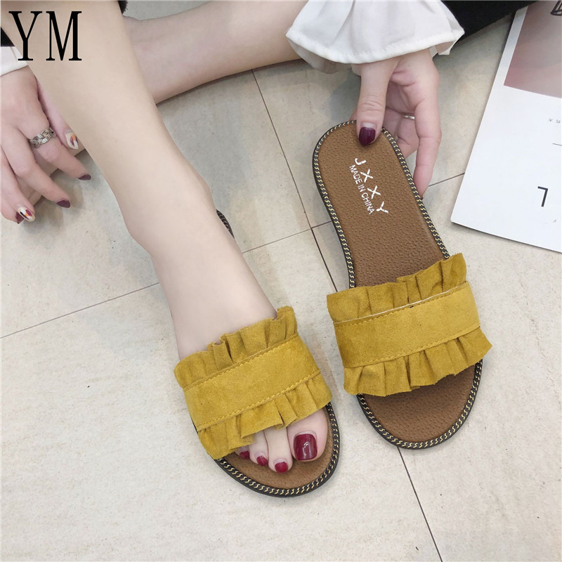 Summer Hot Sale Women Flip Flops Fashion Solid Color Flounce Flat Heel Sandals Outdoor Slipper Beach Shoes For Female Size 35-40Summer Hot Sale Women Flip Flops Fashion Solid Color Flounce Flat Heel Sandals Outdoor Slipper Beach Shoes For Female Size 35-40
