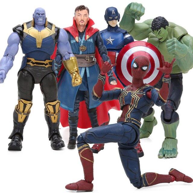 Endgame 4 vingadores Brinquedos SHFiguarts Infinito Guerra Thanos Doutor Estranho Spiderman PVC Action Figure Coleção Modelo Pantera Negra