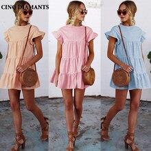 CINQ DIAMANTS Для женщин Летнее платье в клеточку Повседневное оранжевый синий сарафан короткий рукав пляжное платье Femme Plage Robe Vestido Strand Jurk