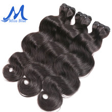 Missblue Raw Indian Virgin Hair Bundles Body Wave Grade 10A Indian Human Hair Weave Bundles Extension 1 3 4 P/Lots Free Shipping(China)