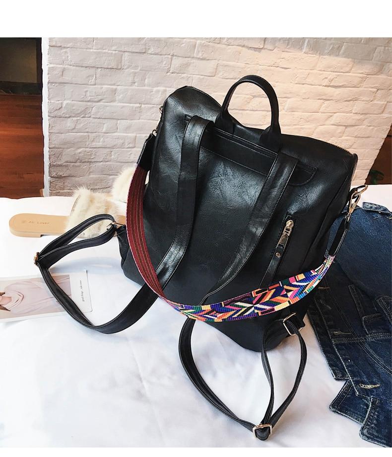 HTB1 z1fatfvK1RjSspoq6zfNpXad Retro Large Backpack Women PU Leather Rucksack Women's Knapsack Travel Backpacks Shoulder School Bags Mochila Back Pack XA96H