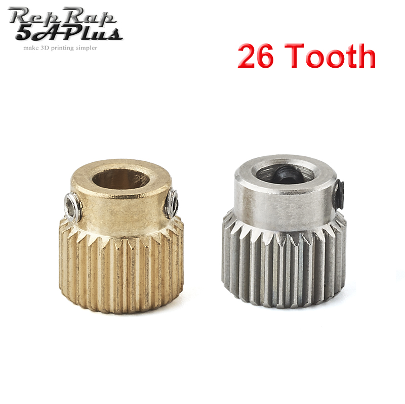 Mk7 MK8 Extrusion Gear 26 Tooth Teeth Brass or Stainless Steel Drive Gear Feeding Gear Wheel for 3D Printer Extruder die steel feeding extrusion wheel for 3d printer black