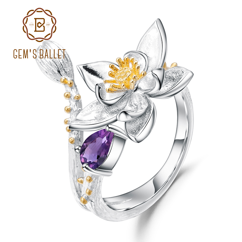 GEM'S BALLET 925 Sterling Silver Handmade Flowers Adjustable Open Ring 0.19Ct Natural Amethyst Gemstone Rings for Women Bijoux