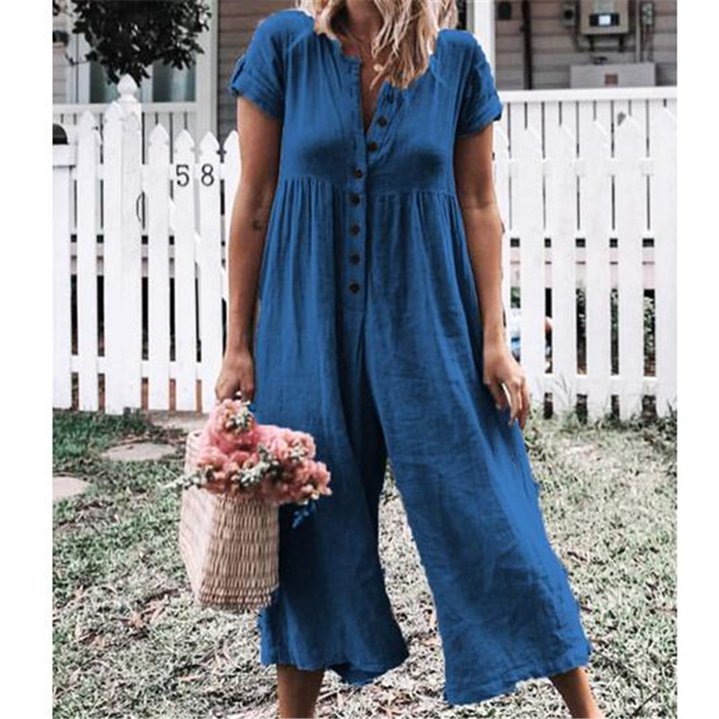 Women's Casual Loose Linen Cotton Jumpsuit Loose Women Romper Dungarees Playsuit Trousers Overalls Combinaison Femme
