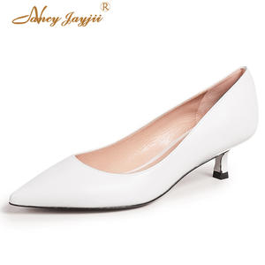 62996a11fae Women Pumps White Low Med Heels Thin Lady Shoes Female Shallow Hoof 2018  Autumn Dress Fashion Classic Plus Size 45 38 39 Slip-on