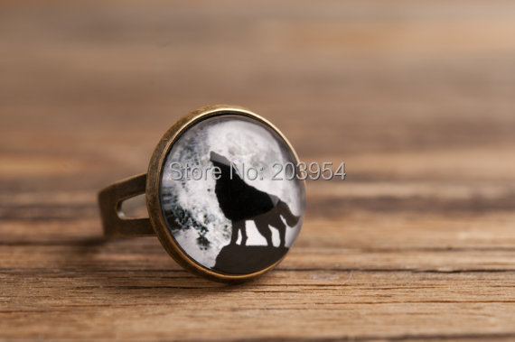wholesale 12pcs Howling wolf Adjustable ring brass pendant men women fashion vintage ste ...