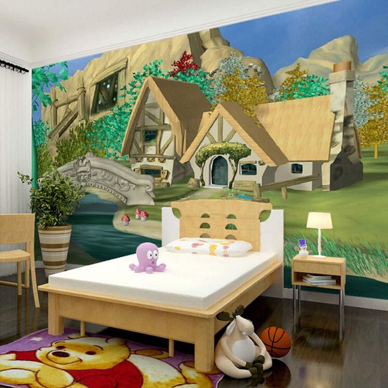 custom d mural papel pintado de dibujos animados casa paisaje natural dormitorio habitacin de los nios etiquetas de la pared