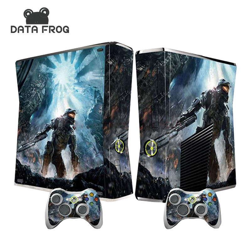 For Microsoft XBOX 360 Slim Soldier Vinyl Decals Console skin and 2 Controller Stickers cover in stock