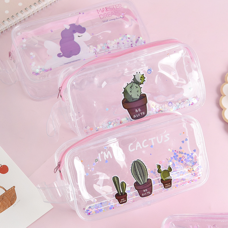1 Pcs Kawaii Pencil Case Sequin Transparent Gift Estuches School Pencil Box Pencilcase Pencil Bag School Supplies Stationery