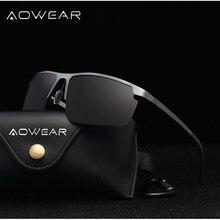 AOWEAR Мужские поляризационные солнцезащитные очки Мужские Оригинальные алюминиевые зеркальные безободковые солнцезащитные очки мужские спортивные уличные очки для вождения Gafas