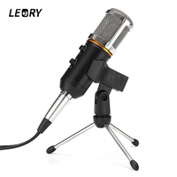 LEORY 3 5mm USB Desktop Condenser Microphone Karaoke Microphones Mic With Stand Mount For PC KTV
