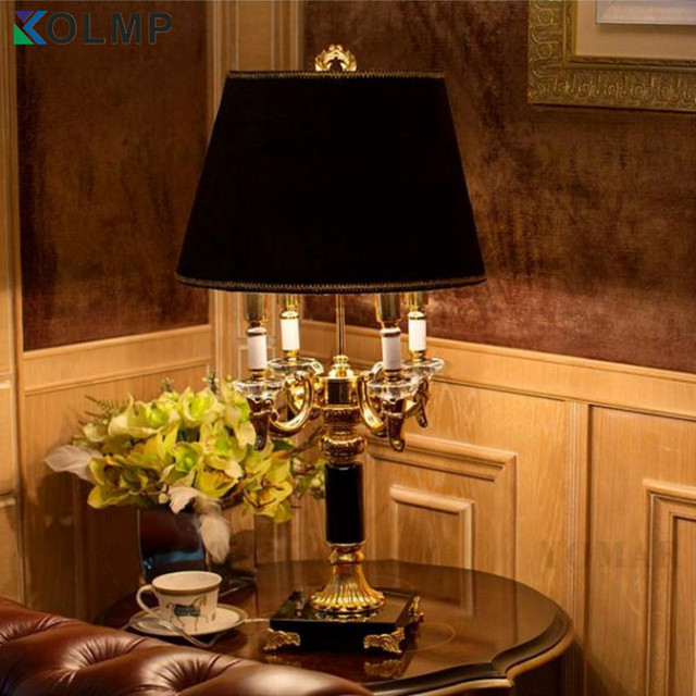 Black Shade Luxruy E14 Candle K9 Crystal Table Lamp Fashion Europe