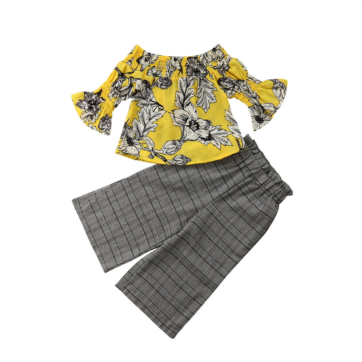 Toddler Kids Baby Girls Flowers Tops Long Sleeve Long Plaid Pants Trouser Outfits Set Casual Clothes Cotton Baby Girl 2-7T cute newborn baby boy girl pant plain long pants kids grey elastic waist pants toddler kids striped bottom trouser clothes