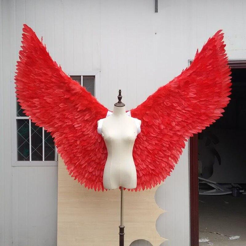 Крылья реквизит красный Перо Крыло ангела дефиле питания фестиваль Ангел Перо крылья окна реквизит нижнее белье Косплей фотографии