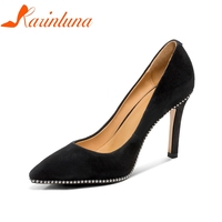 KARINLUNA 2018 Spring Autumn Women Brand Concose Natural Suede Pumps High Heels Black Ol Shoes Woman Pointed Toe Shallow Shoes