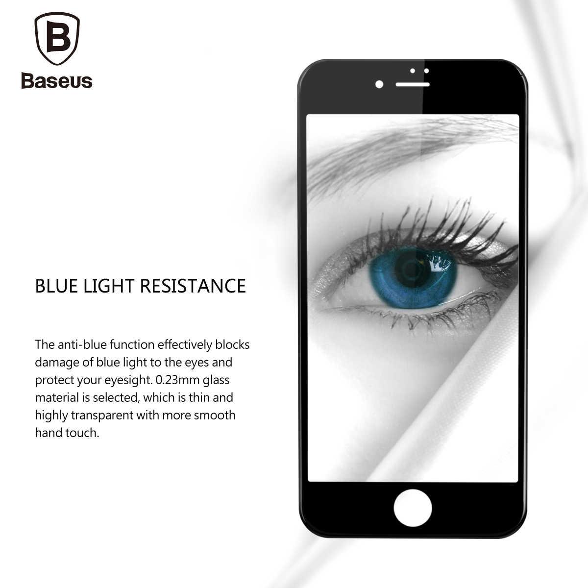 Baseus 0.23 ミリメートル強化ガラス 8 7 6 6s プラススクリーンプロテクターソフト 3D 湾曲したフルカバー保護ガラスフロントフィルム