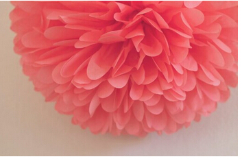 Pack of 5 10 and 14 CORAL Party Tissue Paper Pom Poms Flower Ball Wedding Bridal Shower Party Decoration