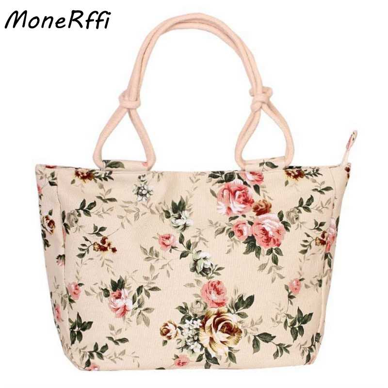 MoneRffi  Folding Women Big Size Handbag Tote Ladies Casual Flower Printing Canvas Graffiti Shoulder Bag Beach Bolsa Feminina