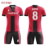 cheap child kids aisa black and red soccer jersey set uniform