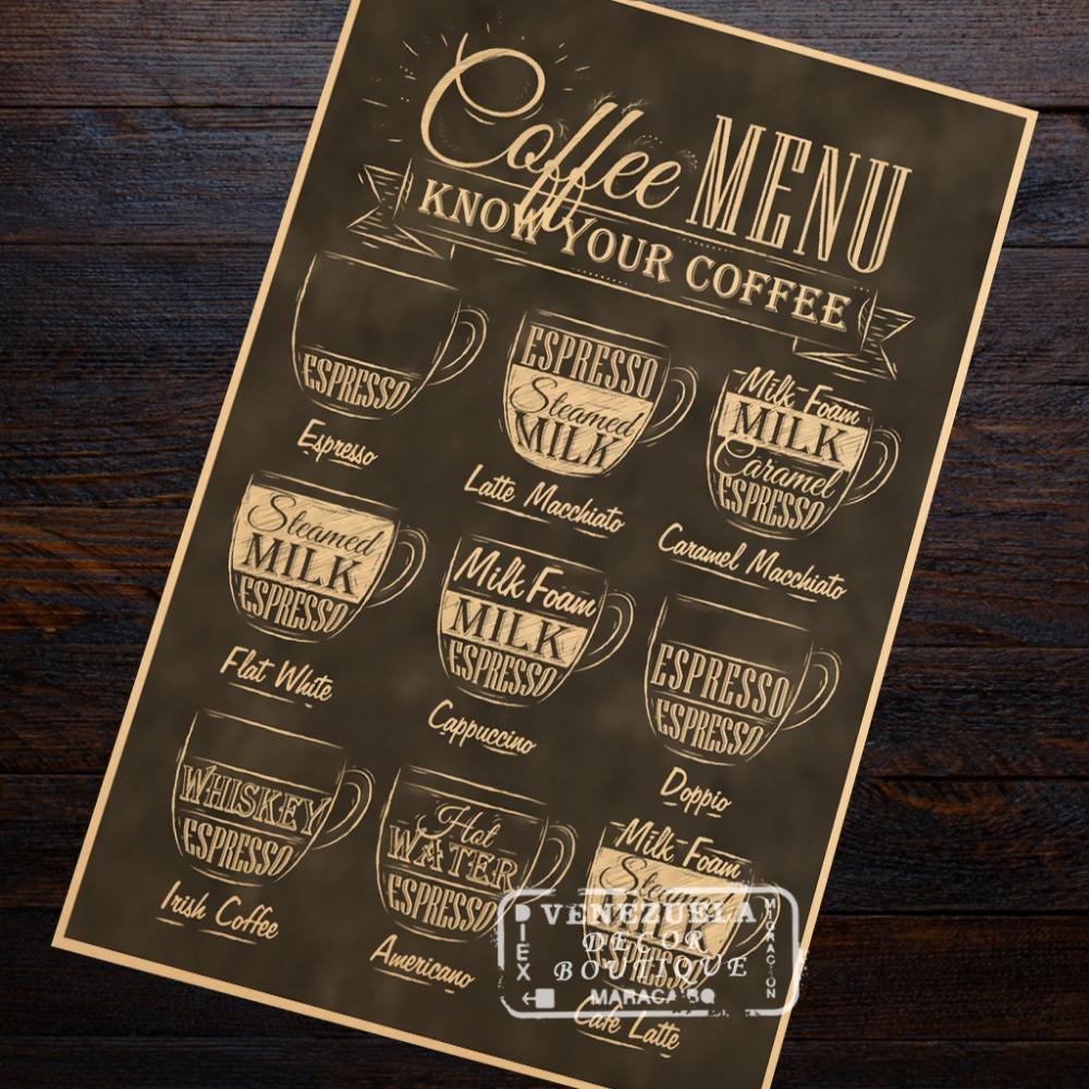 Savoir votre café lait sortes café maison menu décoration classique vintage poster décoratif bricolage mur art