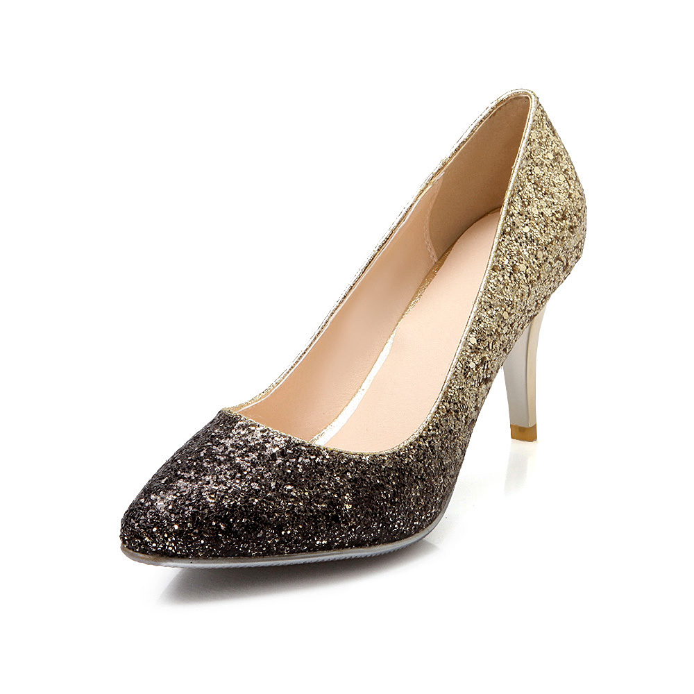brand new wine gold silver pink pumps