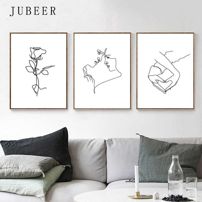 Love Posters and Prints Couple Art Set Of 3 Pictures Hand Heart Girl Room Decor Woman Poster Line Drawing Female Romantic Art