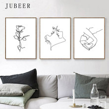 Love Posters and Prints Couple Art Set Of 3 Pictures Hand Heart Girl Room Decor Woman Poster Line Drawing Female Romantic Art(China)