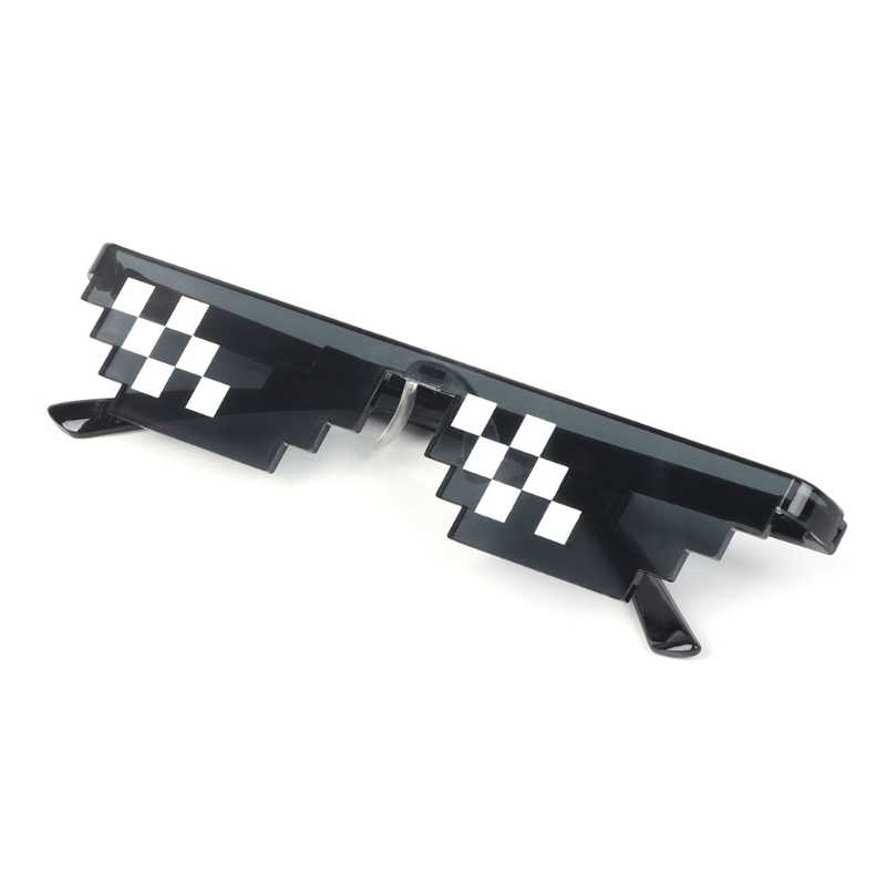 Fancy Glasses Deal With It Glasses Pixel Women Men Black Mosaic Sunglasses Happy toy