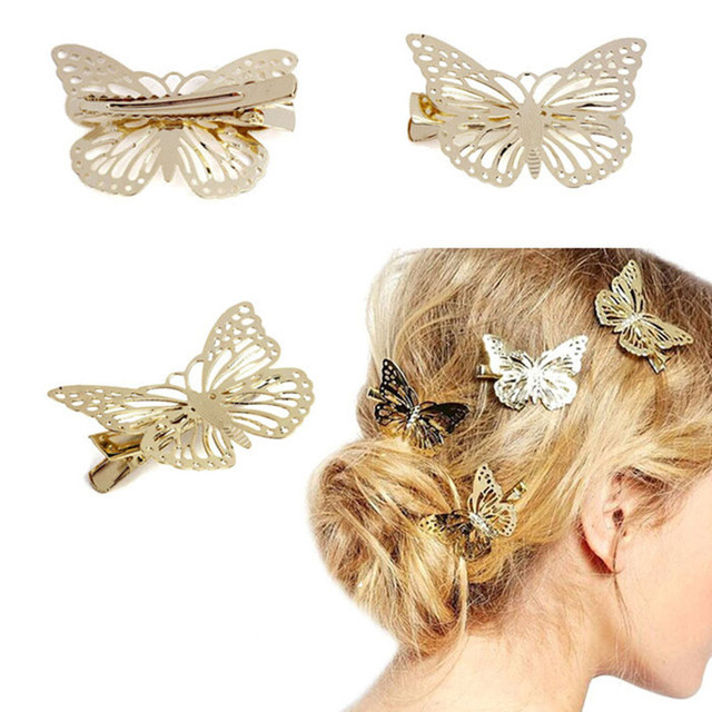 Fashion Exquisite Metal Hollow out Butterfly shape Hairpins Hair Clips Women Sat