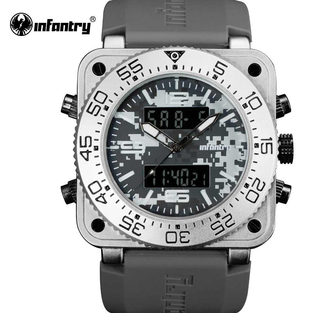 INFANTRY Men Sport Digital Watches Military Army Outdoor Dual Display Quartz Watch Waterproof Square Face Rubber Band Male Clock alike a1278 waterproof digital quartz sport wristwatch timepiece with rubber band for men blue