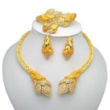Kingdom Ma Wholesale Nigerian Women Wedding Jewelry Sets Dubai Gold color sets African Big Necklace Jewellery