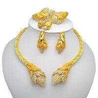 Kingdom Ma Wholesale Nigerian Women Wedding Jewelry Sets Dubai Gold color Jewelry sets African Women Big Necklace Jewellery