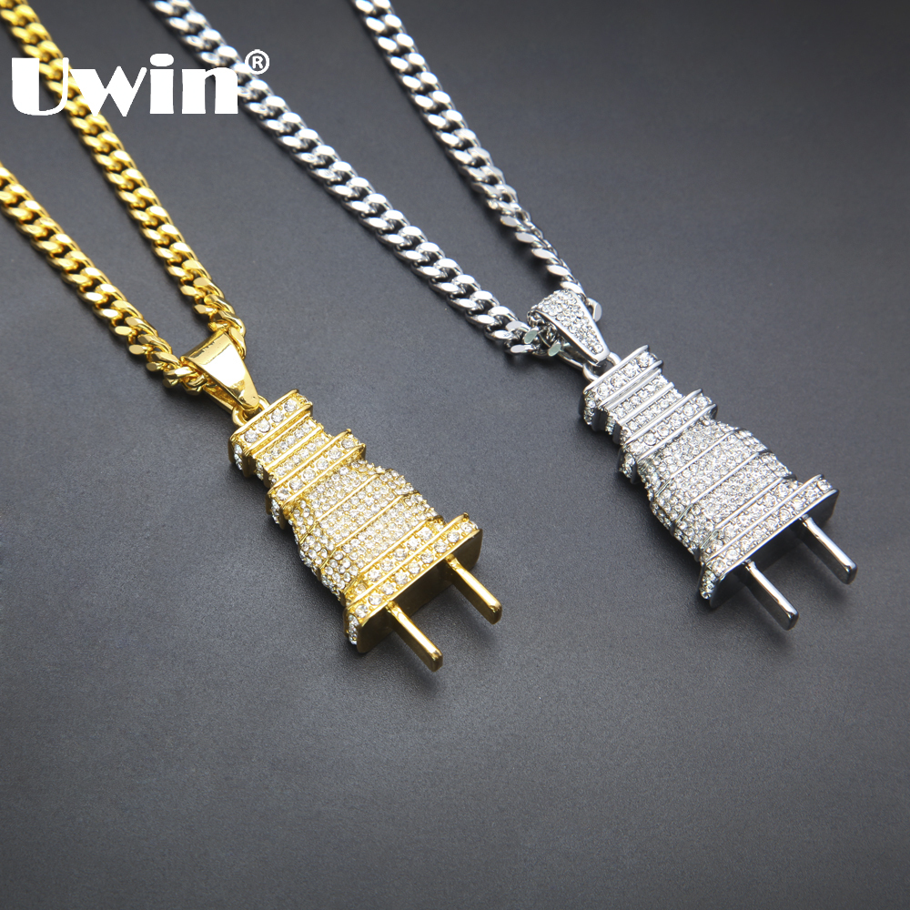 Iced Out Bling Men's Plug Pendant Necklace Gold Silver Plated Charm Micro Pave Full Rhinestone Cuban Chain Hip Hop Jewelry