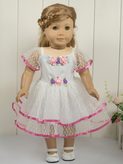 "White lace dress doll clothes fits 18"" American Girl Doll A30"