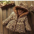 2016 new  Autumn Winter children 2-6 years old baby coat Casual Jackets girl's  Hooded Kids Clothing leopard baby warm jacket