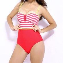 2016 Nuevas Mujeres Rayas Remiendo de Una Pieza Monokini traje de baño Bikini Traje de Baño Femenino Atractivo Adelgaza Backless Del Mono Traje de Baño