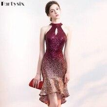 Partysix Halter Neck Elegant Sequins Dress Short Front Long Back Sparkle Eevning Party