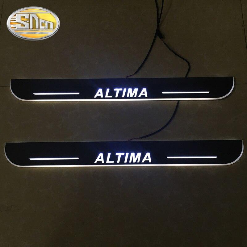 SNCN 4 pièces acrylique mobile LED bienvenue pédale voiture éraflure plaque pédale porte seuil voie lumière pour Nissan Altima 2015 2016 2017 2018 - 3