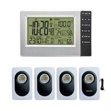 אלחוטי מזג Staion טמפרטורה פנימית וחיצונית ולחות מדידה רדיו Controll Aalar שעון ביותר עד 4 חיישנים