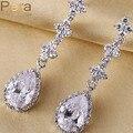 Luxo Pear Cut Cubic Zirconia Simulado Diamante Pavimentada Longa Gota de Lágrima Mulheres Brincos Moda Jóias de Casamento Para Noivas E058