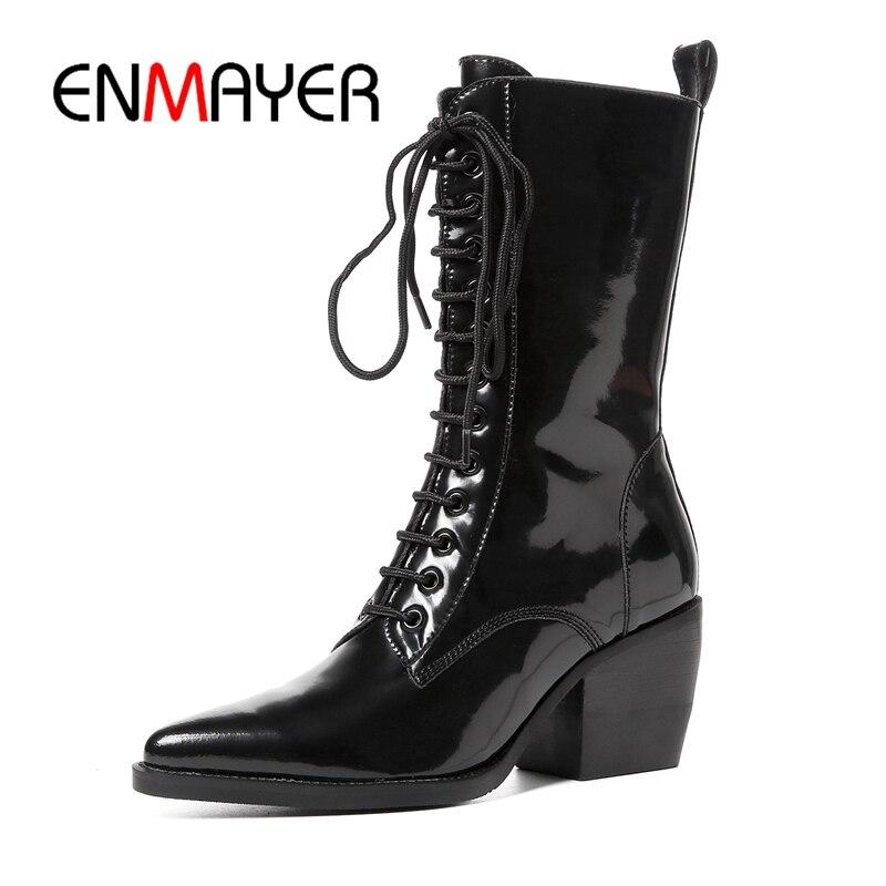 Carré Zipper Talon Bottes Black 34 Enmayer Femmes Lacets Mujer Bout Mode mollet Botas Mi Pointu À Taille Zyl1042 39 1Rz8xzdnw