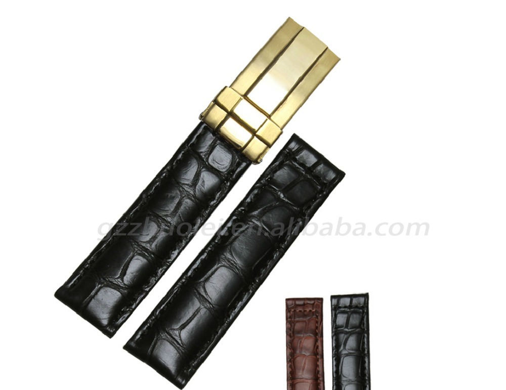 19*16|20*16mm high quality crocodile leather watch strap with different color stainless steel buckle free shipping